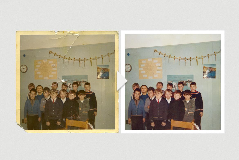 Photo scolaire ancienne d'une classe qui a été retouchée.