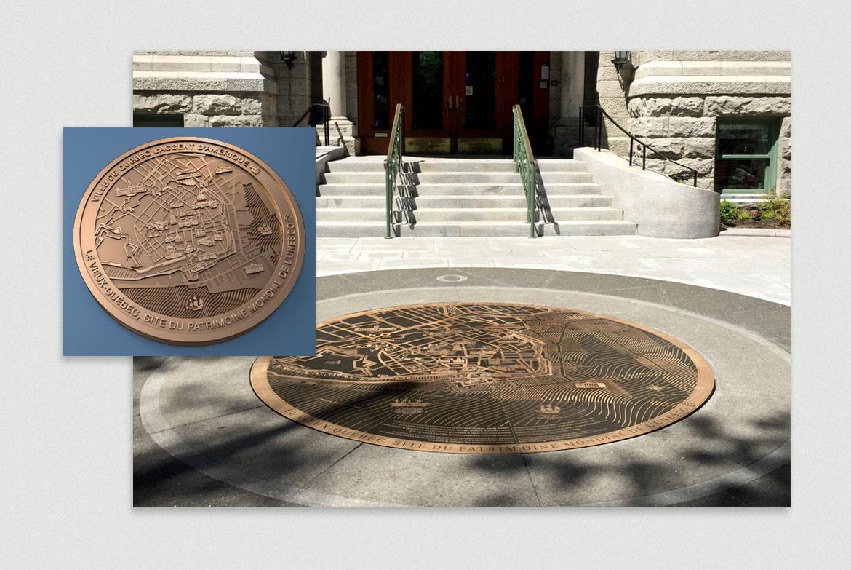 Design du médaillon en bronze pour la Ville de Québec par Laro design et illustration