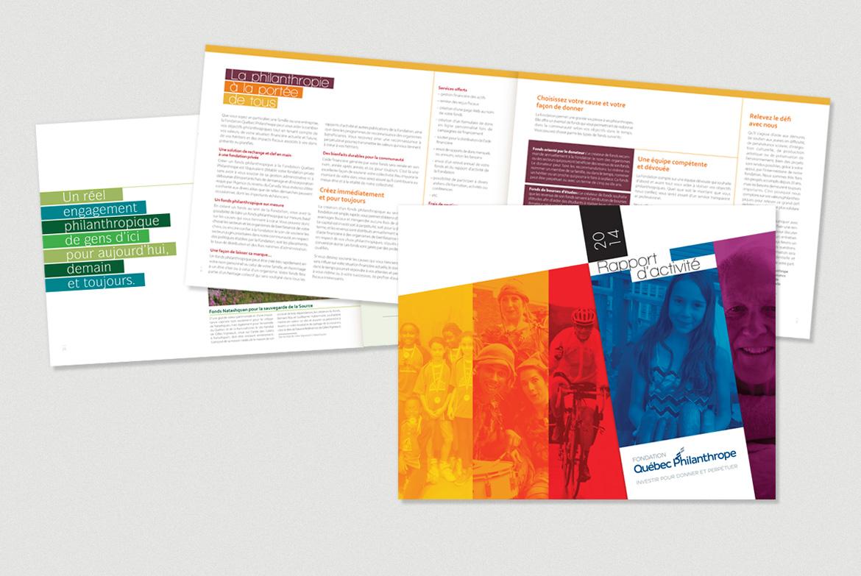 Rapport annuel de la Fondation Québec philanthrope réalisé par Laro.
