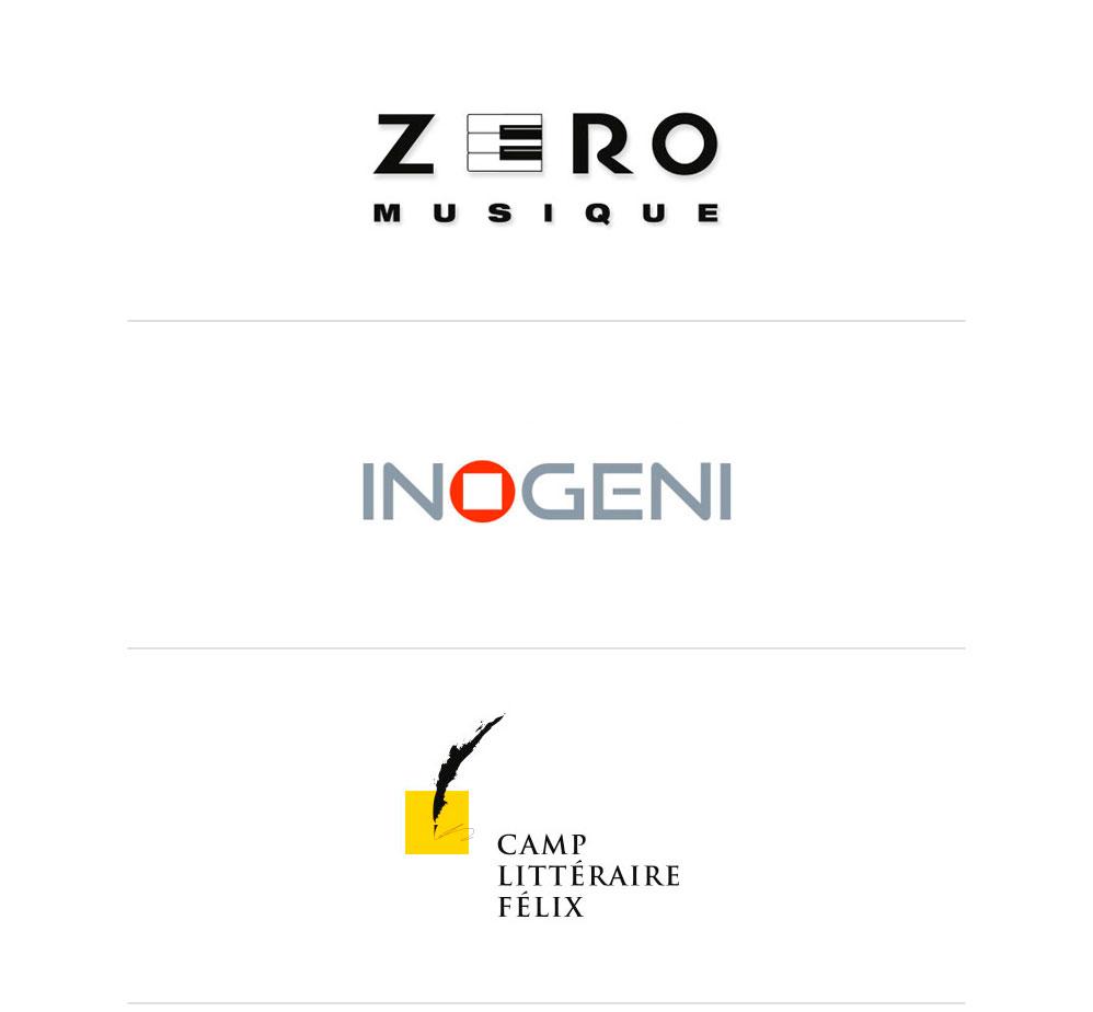 Logo Zéro musique, Inogeni et Camp littéraire Félix